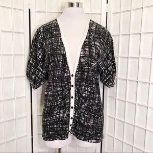 Calvin Klein V-Neck Black White Cotton Knit Top M